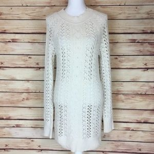 Free People Crochet Dress Cream Long Sleeve Large